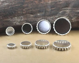 50 Brass Silver Plated 12mm/ 15mm/ 20mm/ 25mm Round Bezel Setting Crown Edged Cabochon Mountings Pendant Trays - Z7265