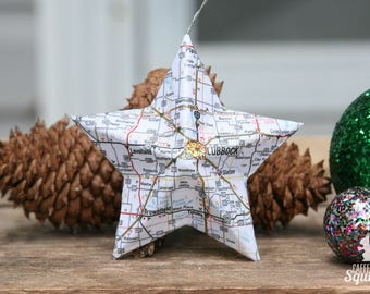 lubbock texas map covered star ornament tx home decor west