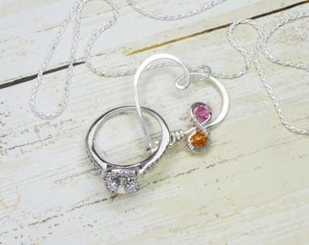 heart clasp ring holder necklace infinity birthstone wedding engagement ring holder pendant - Wedding Ring Necklace Holder
