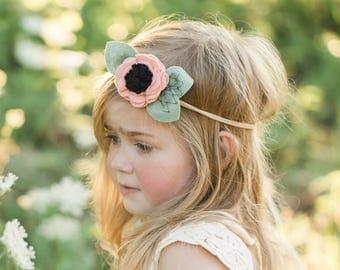 Single Flower Headband or Alligator Clip // Blush Pink Color, Fall Carnation Felt Flower