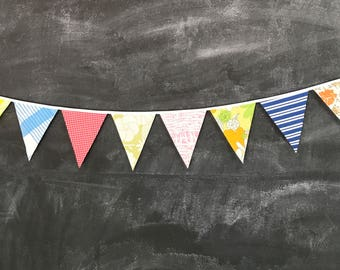 Bunting Banner - Colorful Flags Made From Vintage Sheets - Baby Shower, Nursery Decor, Birthday Parties, Bridal Shower, Tea Party, Wedding