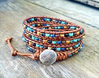 Beaded Leather Wrap Bracelet, Seed Bead Leather Wrap Bracelet, Leather Wrap Bracelet, Womens Leather Bracelet, Bohemian Jewelry Bracelet