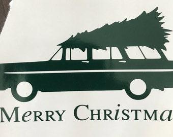 Christmas Stationwagon Vinyl Decal Sticker