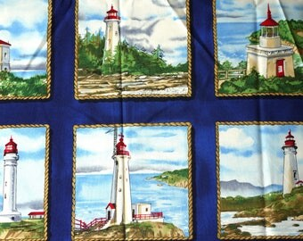 1/3 YARD, Blue Lighthouse Squares Print, Quilting Cotton or Craft Fabric, Timeless Treasures, Beacon C7043, Ocean Coastal, B44