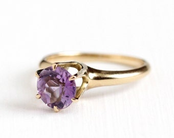 Sale - Vintage Amethyst Ring - 14k Rosy Yellow Gold Edwardian Solitaire - Size 5 1/2 Early 1900s Round 1.30 CT Purple Gemstone Fine Jewelry