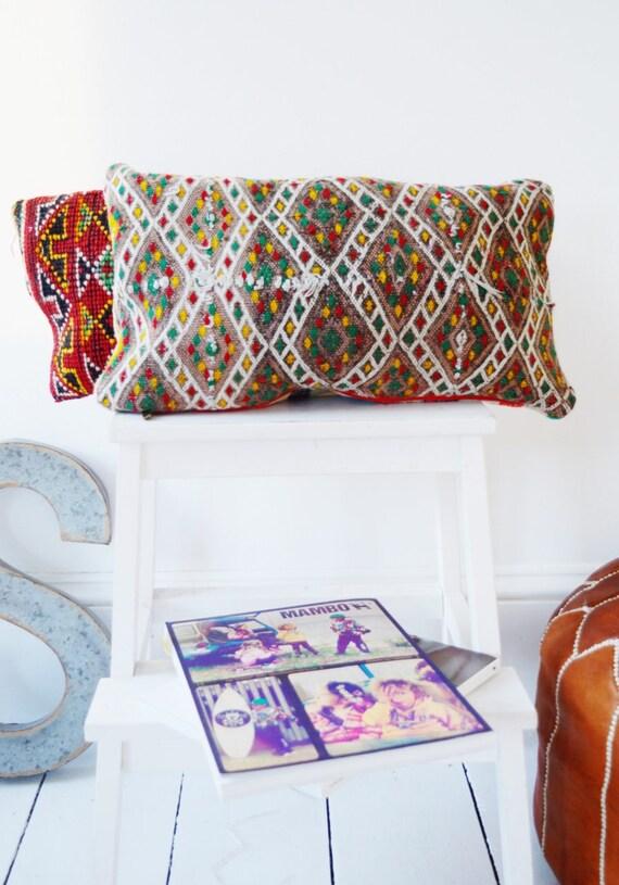 Vintage Moroccan Pattern Kilim Berber Carpet Cushions-lumbar, vintage cushions, christmas gifts, gifts, No.8