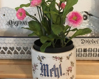 Antique German Ironstone Flour Crock or Canister Floral Blue and White