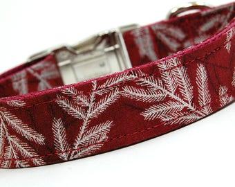 Handmade Dog Collar - Silver Spruce - Winter Dog Collar - Silver Accents - Deep Red Dog Collar with Silver Tree Branches - Elegant Collar