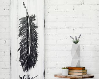 Feather Sign, Rustic Feather Sign, Rustic Decor, Wood Art, Feather Art,