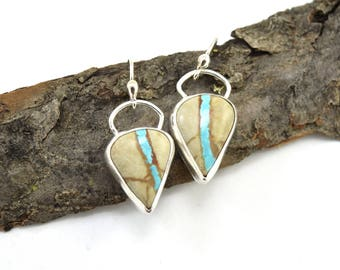 Royston Ribbon Turquoise Earrings in Sterling Silver - Royston Turquoise Jewelry - Boulder Turquoise Earrings