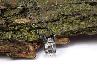 Genuine Herkimer Diamond Necklace - Herkimer Diamond Jewelry - Raw Herkimer Crystal Cage Necklace - Herkimer Jewelry - Large Crystal S