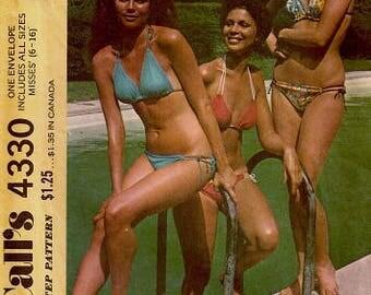 1970s String Bikini String-A-Long Bikini McCaal's 4330 Sizes 6 - 16 Bust 30.5 - 38 Women's Vintage Sewing Pattern
