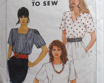 Misses Easy To Sew Pullover Top Pattern - Simplicity 9587 - Sizes 16 -20, Bust 38 - 42