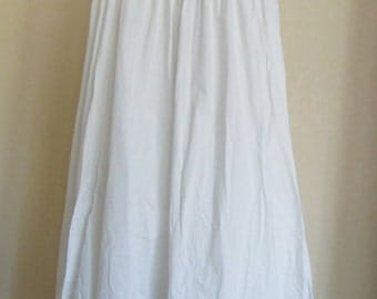 Vintage Antique White Cotton Petticoat with Lace --Small--Excellent Condition!