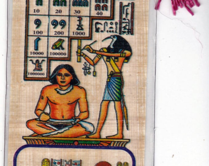 New! Akhnaton Worshipping Aton the Sun God Papyrus bookmark. This bookmark has both the hieroglyphic alphabet and numbers too! Great Gift!