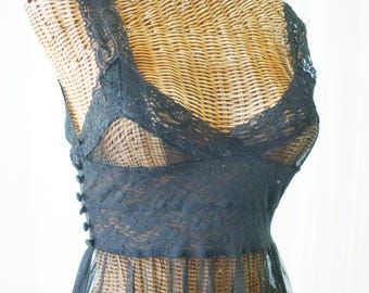 Sheer Lace Nightgown Black 36 Bust
