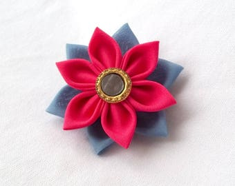 Vibrant Pink and Blue Succulent Fabric Flower Hair Clip Tsumami Kanzashi Barrette