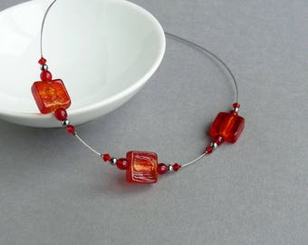 Red Fused Glass Necklace - Square Bead Necklet - Red Lampwork Bead Jewellery - Simple Red Necklaces