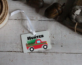 christmas ornament, vintage truck, personalized ornament, truck ornament, christmas truck and tree ornament,child ornament, christmas