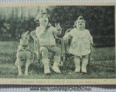 Vintage French Postcard - Two Children & a Dog 'As Daddy Threw the Ball High'