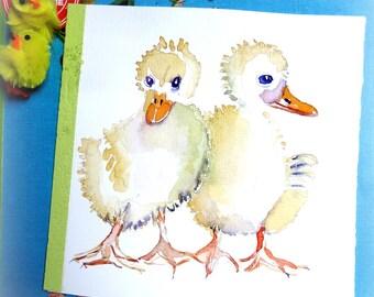 Ducklings. Original watercolor. Spring-Easter.
