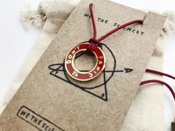Red Hitchhikers Guide Don't Panic Necklace- HHGTTG Men's/Women's Astronomy Necklace - Space Jewelry