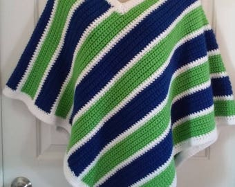 Neon Green, Blue and White Crochet Poncho  - Great for Seattle Seahawks NFL Football Fans