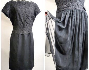 1960s Black lace & silk chiffon waterfall back cocktail dress / 50s 60s straight skirt cascade train evening dress - L XL
