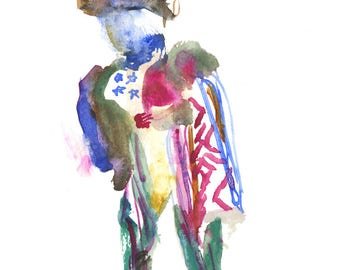 """Abstract Figure Painting, Surreal Art, Original Watercolor, Gouache, 6"""" x 6"""" - 191"""