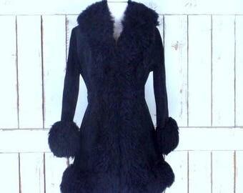 Vintage 70s black suede leather faux fur coat/long black suede belted fur jacket/small/medium