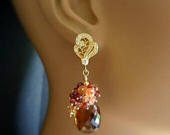 New! Madeira Citrine Sunstone and Garnet Gemstone Cluster Dangle Earrings Paisley Post Earrings November Birthstone Gift for Her