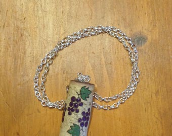 Upcycled Painted Grape Cork Necklace