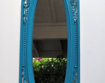 Turquoise / Dark Teal Tall Narrow Ornate Mirror