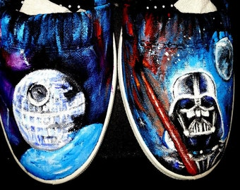 STAR WARS handpainted SHOES  Shoes Sneakers This death star Any size Men Women Chubaka Yoda Darth Death Star