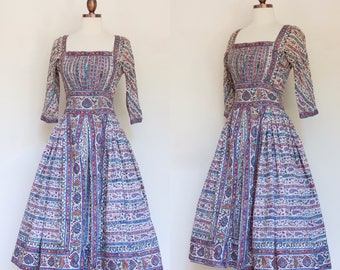 vintage 1950s Indian cotton printed dress   50s paisley print dress with full skirt   XS