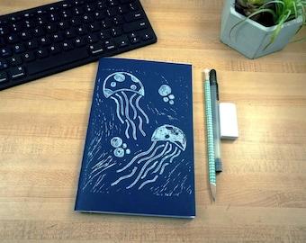 Jelly Fish Jotter - Art Journal - Notebook - Sketchbook - Adventure Journal - Nautical Book - Lino Print Book - Blank Book