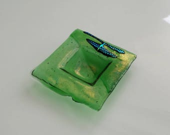 New! Green Fused Glass Dish - Ring Dish in Shades of Green - Dichroic Glass - Fused Glass Trinket Dish - Stocking Stuffer - Secretary Gift