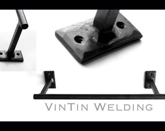 Hand Forged Iron Straight Clean Line Round Rod Towel Bar by VinTin