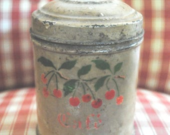 Vintage French TIN Canister CAFE' Cherries