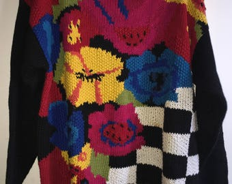 Vintage Women's Knit Sweater By Crystal-Kobe Size Large Multicolor RN#69377