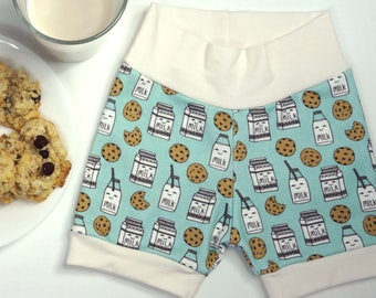 Limited Edition// Modern organic baby shorts, milk and cookie print, unisex baby clothes, gender neutral baby gifts, ready to ship