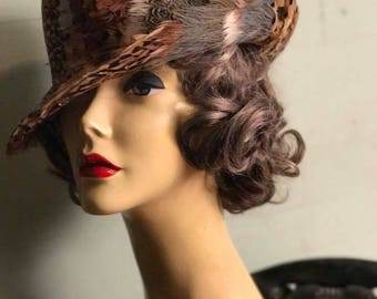 1940's Sumptuous Feathered Fedora Homburg Hat