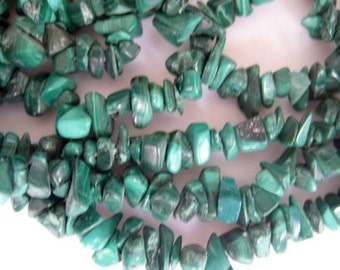Malachite Gemstone Beads, Gemstone Chips, Malachite Chips, 32 Inches Each, Chip Size 5mm To 7mm Approx