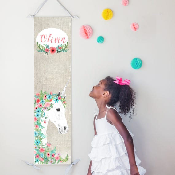 Floral unicorn canvas growth chart