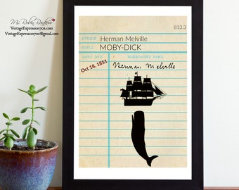 Herman Melville, Moby-Dick, The Whale, Vintage Library Card Art, Book Art, Silhouette, Print