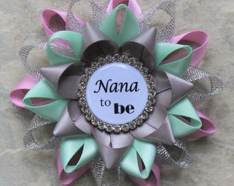 Gender Neutral Baby Shower Corsage, Nana to be Gift, Gender Reveal Party Decorations, Mommy to Be Pin, Bubblegum Pink, Silver, Mint, Gray
