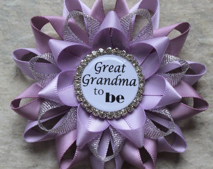 Great Grandma Gift, Great Grandma to Be Gift, Baby Shower Decorations, New Grandma Gift, Baby Shower Corsages, Orchid, Thistle, Silver