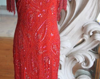 Vintage 1980s - 1990s Red Beaded Gown / Dress