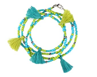 Multi Tassel Necklace Bohemian Style with Glass and Seed Beads Can Be Looped To Create A Multi Layer Necklace in Gorgeous Seashore Colors