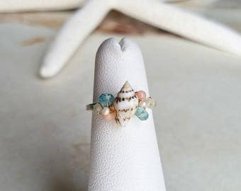 Adjustable Seashell Ring, Colorful Beach Ring, Gemstone Cluster Ring, Wire Wrapped Shell Ring, Peach Aqua Ring